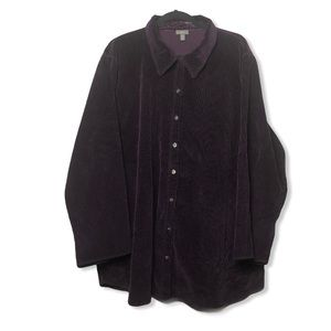 J. Jill deep purple wide corduroy & velvet shirt3X
